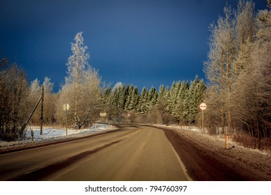 Winter road to frost