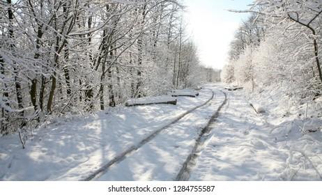 winter road at morning