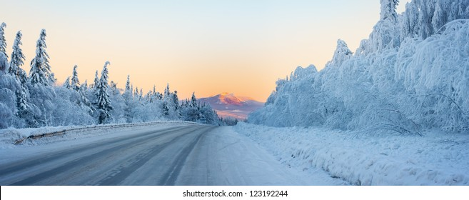 Winter road to the mountain