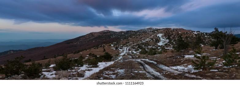Winter road on Yalta yayla, Crimea