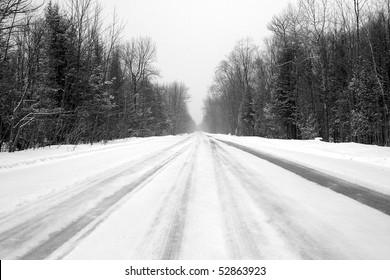 Winter Road In Rural Canada