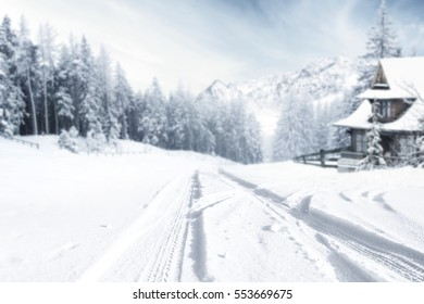 winter road and snow