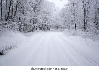 winter road in snow