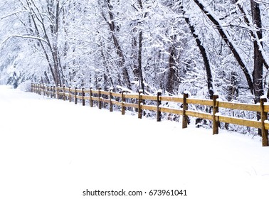Winter Road with Snow and Fence