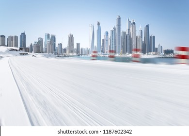 winter road and snow with landscape