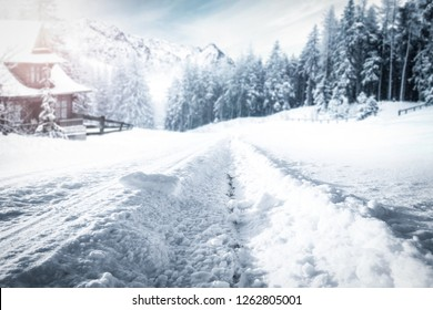 Winter road to the snow mountains