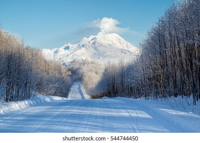 Winter road.Russia, Kamchatka Mountain. Shiveluch Volcano.(3307m) Active Volcano Of Kamchatka Peninsula.