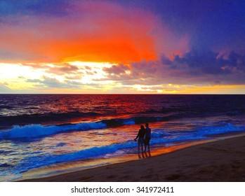 Winter Romantic Sunset from Newport Beach, California
