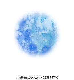 Winter round blue spot. Abstract background. Watercolor painting. Hand drawn illustration. Painted backdrop. Holiday drawing. Flowing paint, blurry drawing. Planet, space, Earth, moon.