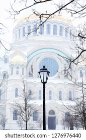 Winter in Russia. Saint Nicholas Naval Cathedral In Kronstadt