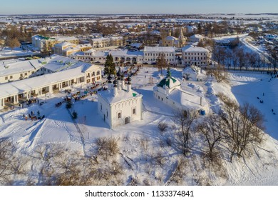 Winter in Russia. Suzdal, the Golden Ring of Russia. Aerial view of Suzdal city center on a winter day off.