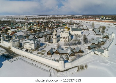 Winter in Russia. Suzdal, the Golden Ring of Russia. Aerial view of the Intercession Monastery in the winter.