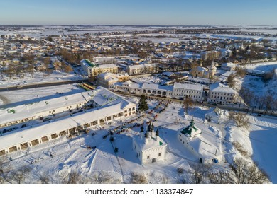 Winter in the Russian province. Suzdal, the Golden Ring of Russia. Aerial view of Suzdal city center on a winter day.