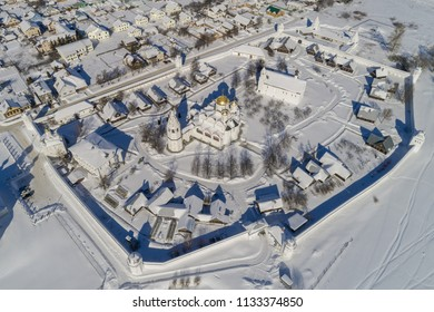 Winter in the Russian province. Suzdal, the Golden Ring of Russia. Aerial view of the Intercession Monastery in the winter.