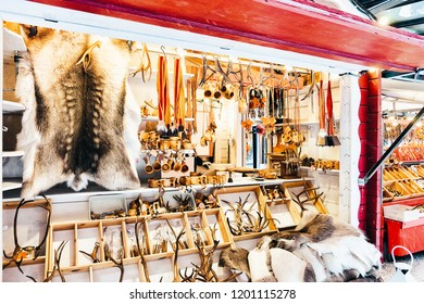 Winter Saami Souvenirs such as reindeer fur and horns at Finland in Lapland in winter.