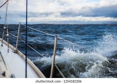 Winter sailing. Waves and clouds. Baltic sea, Latvia