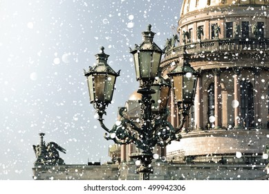 Winter in Saint Petersburg. Saint Isaac Cathedral at snowstorm, St Petersburg, Russia