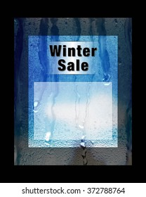 Winter Sale advert your text here poster blue, white and black with wintery condensation on glass illustration