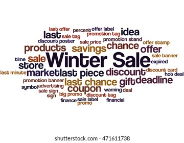 Winter Sale, word cloud concept on white background.