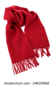Winter scarf, red, isolated on white.