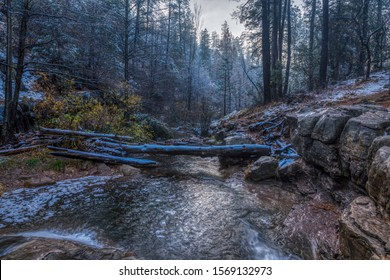 A winter scene along Tonto Creek in the Tonto National Forest in Arizona.