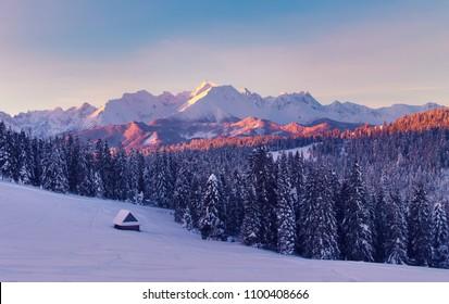 Winter scene. Amazing mountain winter landscape. Frosty morning in tatra mountains.
