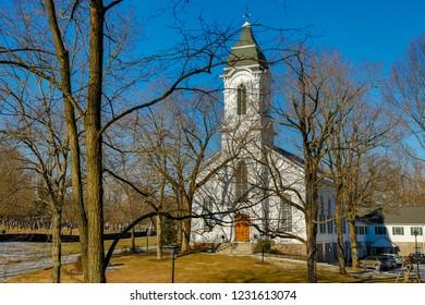 A winter scene of the Bethlehem United Presbyterian church, Bethlehem, New Jersey
