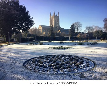 A winter scene of the cathedral in Bury ST Edmunds, UK