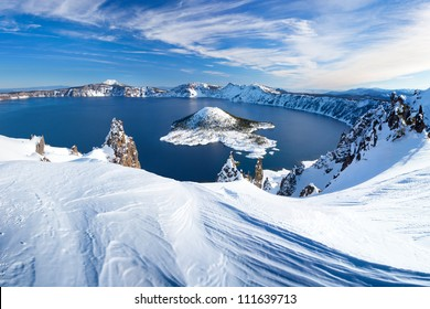 Winter Scene at Crater Lake Volcano