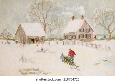 Winter scene with farmhouse/ digital watercolor