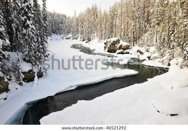 Winter scene of the kicking horse creek and canyon in yoho national park, british columbia, canada