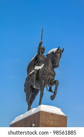 Winter scene with old statue of king Tomislav in Zagreb capital of Croatia.