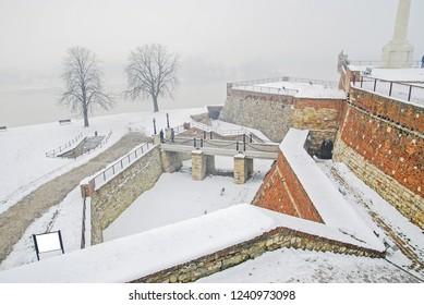 Winter scene at the park Kalemegdan fortress in Belgrade