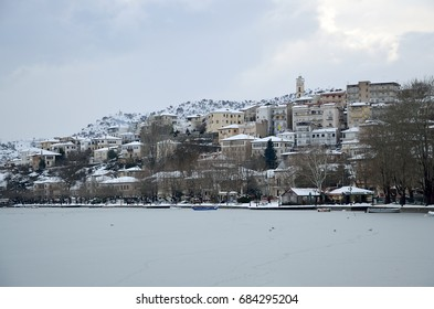Winter scene at the southern lakeside of Kastoria, Greece