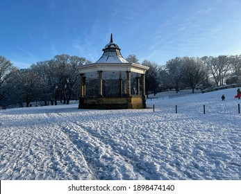 Winter scene, with a Victorian Bandstand, set against a blue winter sky in, Bradford, Yorkshire, UK