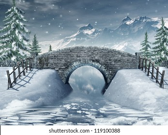Winter scenery with a bridge over a frozen river