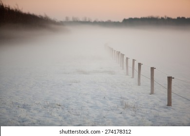a winter scenery during sunset where a snow covered farm field with trees in the background are surrounded by mist under a golden sky. A fence is disappearing into the dense fog.