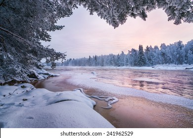 Winter scenery from Finnish nature. Koiteli, Kiiminki, Oulu, Finland. Landscape photo from frosty winter paradise. Travel photo. Background for your desktop or to posters.