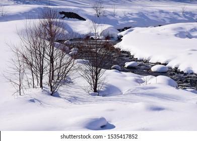 Winter scenery in Hakuba village, Japan
