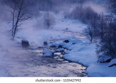 Winter scenery in Hakuba village, Nagano