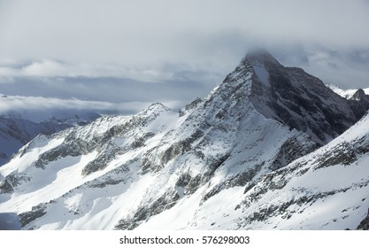 Winter scenery from high altitude in the Alps