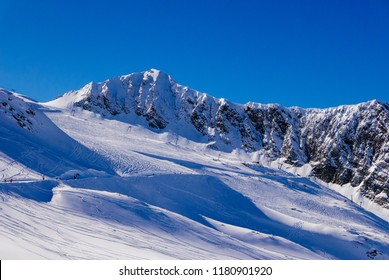 Winter scenery at Hintertux glacier in Alps mountains.