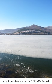 Winter scenery at the lake Orestiada in Kastoria,Greece