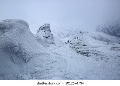 Winter scenery. Location  place Carpathians. Rocks frozen with interesting textured frost and snow as if it is a giant in fairytale world. Landscape with high mountains, fog and gloomy mystical sky.