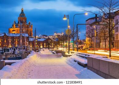 Winter scenery of the Old Town in Helsinki, Finland