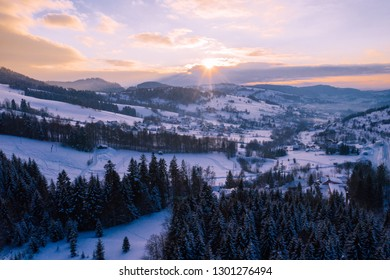 Winter scenery in Silesian Beskids mountains. View from above. Landscape photo captured with drone. Poland, Europe.