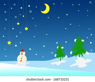 Winter scenery with snowman at Christmas.