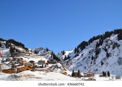 Winter Scenery at St. Anton Ski Resort, Arlberg, Austria