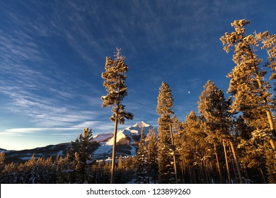 Winter scenery, at sunrise in Big Sky, Montana, near Yellowstone National Park