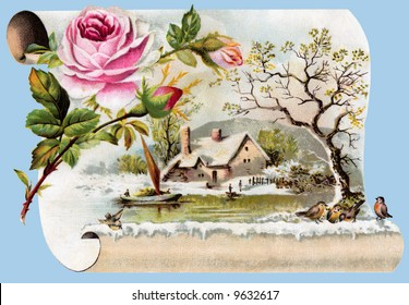 Winter Scenic - a circa 1890 vintage greeting card illustration